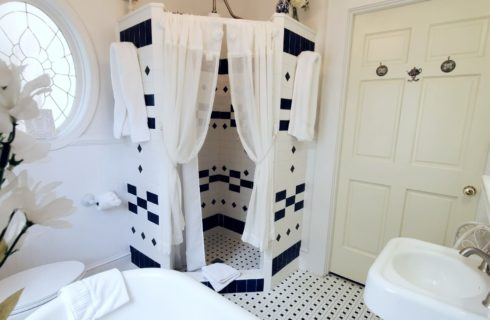 Spacious shower with white and blue tile in large bathroom.